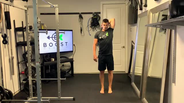 Standing Overhead Low Band Tricep Extension demonstration