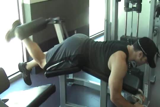 Lever Alternating Bent-over Leg Curl demonstration
