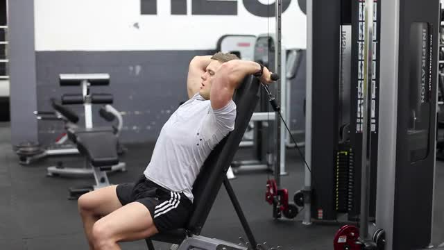 Seated Low Pulley Overhead Tricep Extension demonstration