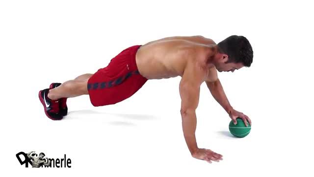 Single-Arm Medicine Ball Pushup demonstration