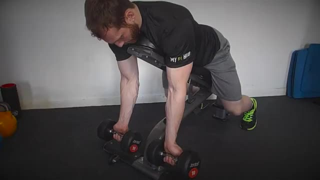 Dumbbell Prone Incline Curl demonstration