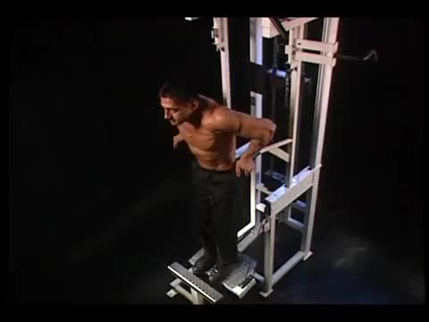Male Machine-assisted Chest Dip (kneeling) demonstration