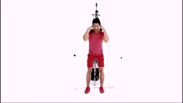 Male Cable Standing Crunch demonstration