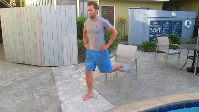 Bulgarian Split Squat on High Bench (chair) demonstration