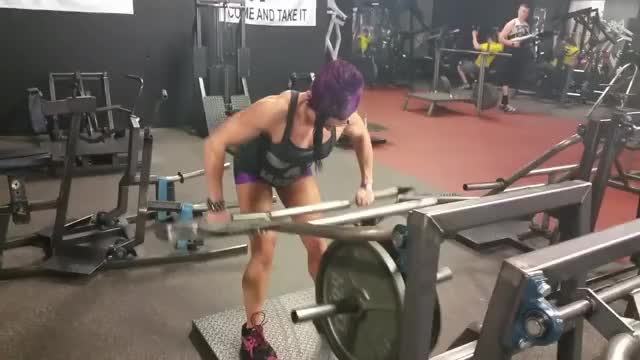 Female Lever Barbell Bent-over Row (plate loaded) demonstration