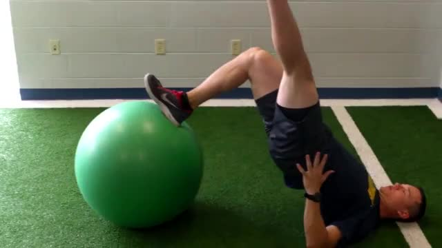 Single Leg Stability Ball Hip Extension demonstration