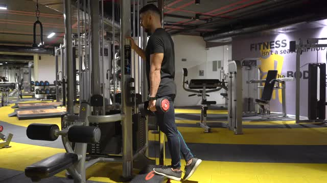 Male Standing One Leg Calf Raise With Dumbbell demonstration
