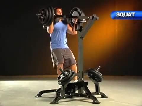 Male Lever Full Squat (plate loaded) demonstration