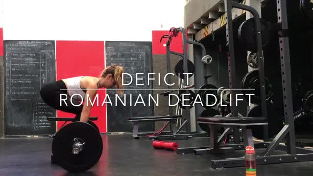 Romanian Deadlift with Deficit demonstration