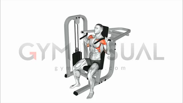 Seated Lever Barbell Shoulder Press (plate loaded) demonstration