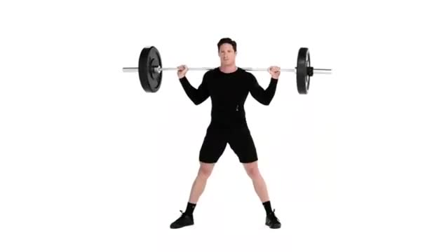 Wide-Stance Barbell Squat demonstration