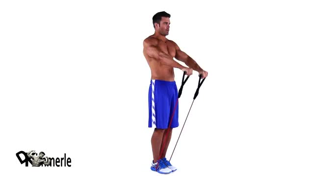 Male Resistance Band Front Raise demonstration