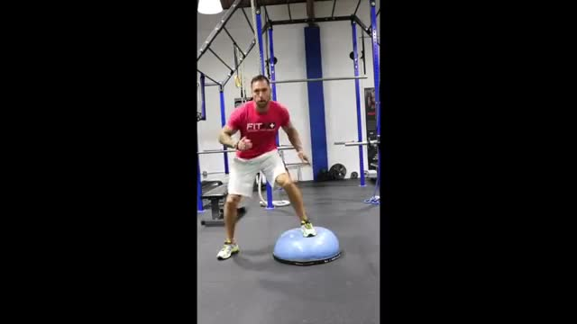 Male Lateral Bosu Shuffle demonstration
