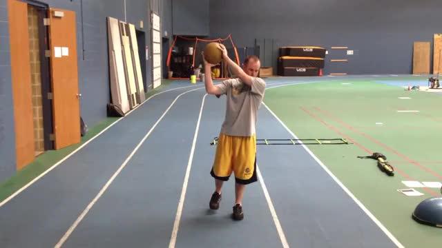 Medicine Ball Single Leg Chop demonstration