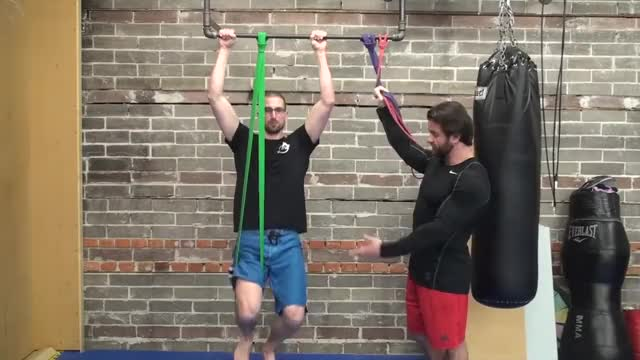 Male Resistance Band Assisted Pull Up (From Knee) demonstration