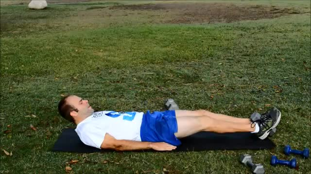Weighted Lying Leg Raise demonstration