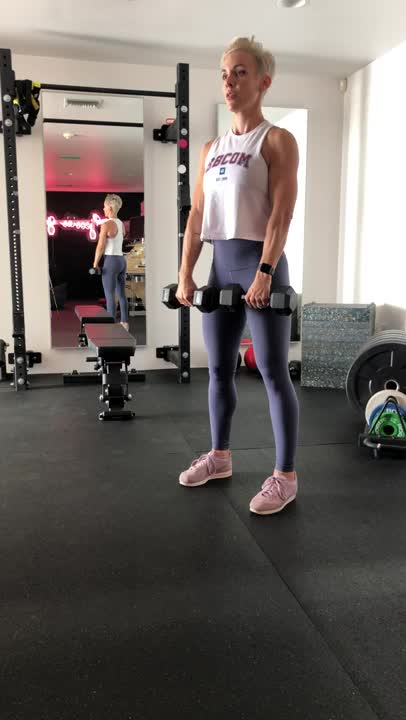 Female One Arm Seated Dumbbell Front Raise demonstration