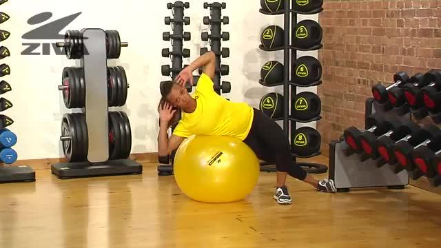 Female Side Crunch (on stability ball) demonstration