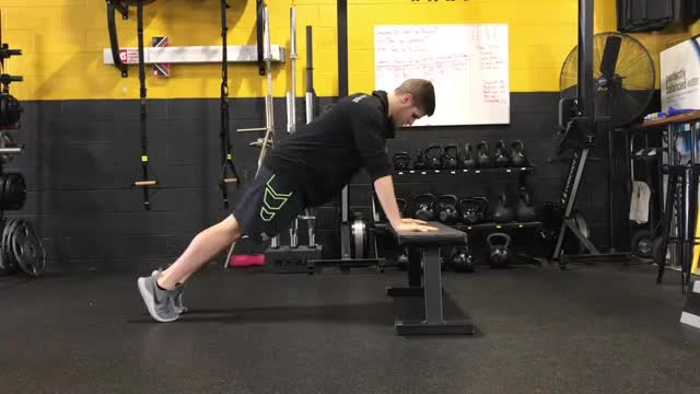 Male Eccentric Only Incline Push Up demonstration
