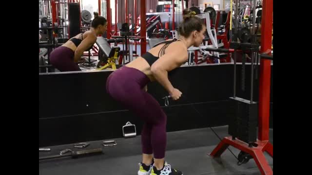 Female Cable Tricep Kickback demonstration
