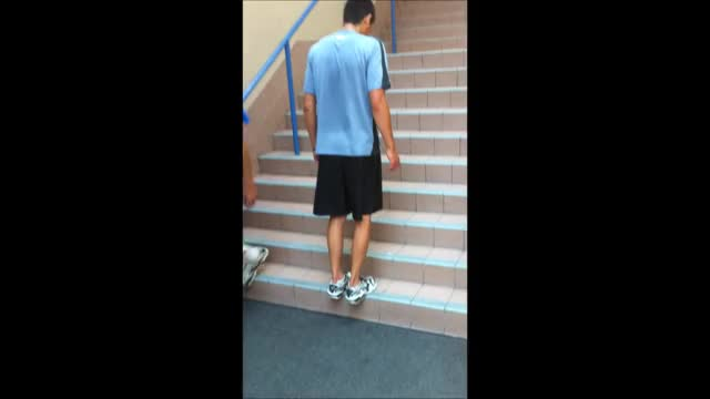 Male Staircase Depth Jump demonstration