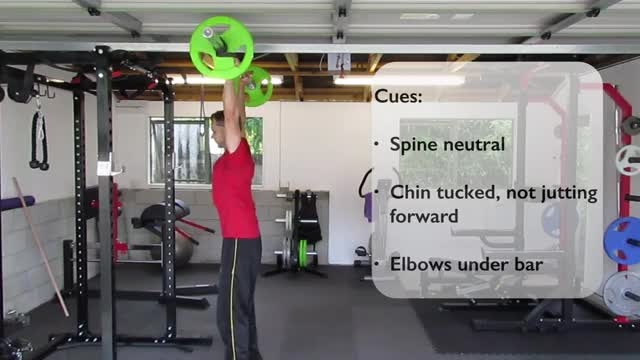 Overhead Barbell Shrug demonstration
