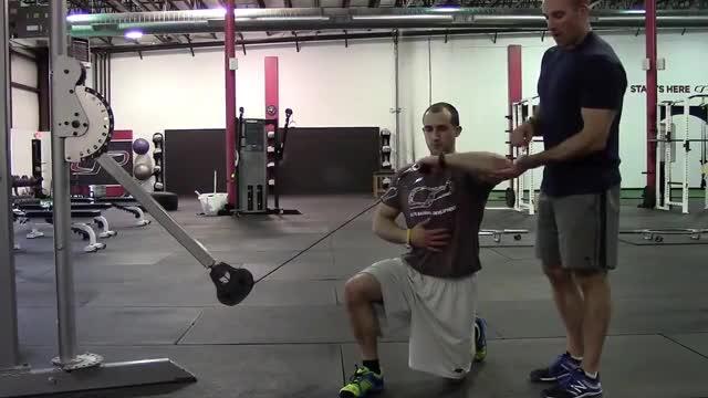 Male Half Kneeling Cable External Rotation demonstration