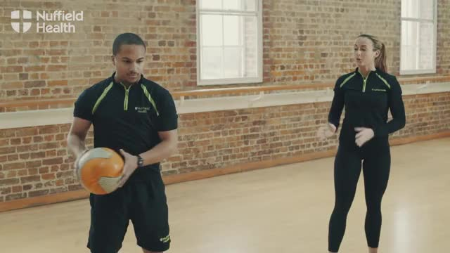 Medicine Ball Side Twist Throw (with partner) demonstration
