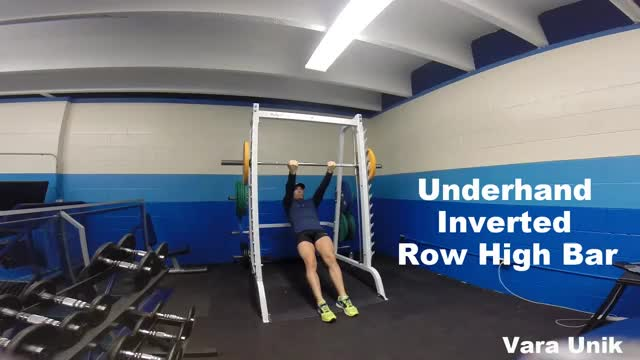 Underhand Inverted Row (high bar) demonstration
