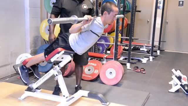 Barbell 45 Degree Back Extension (on hyperextension apparatus) demonstration