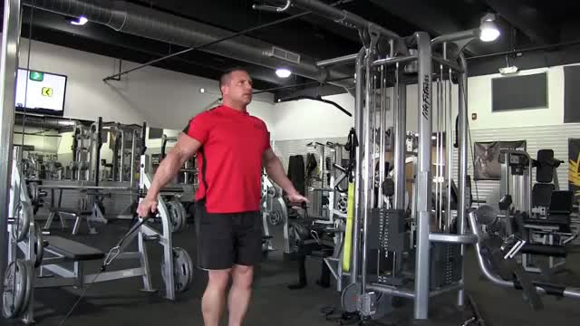 Cable Shrug (dual pulley) demonstration