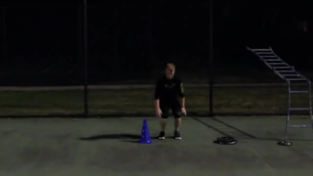 Lateral burpee demonstration