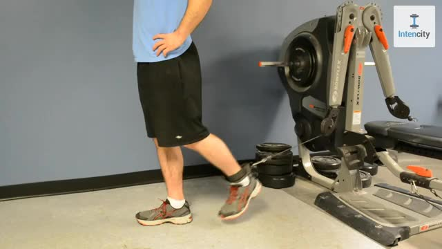 Male Cable Standing Leg Raise demonstration