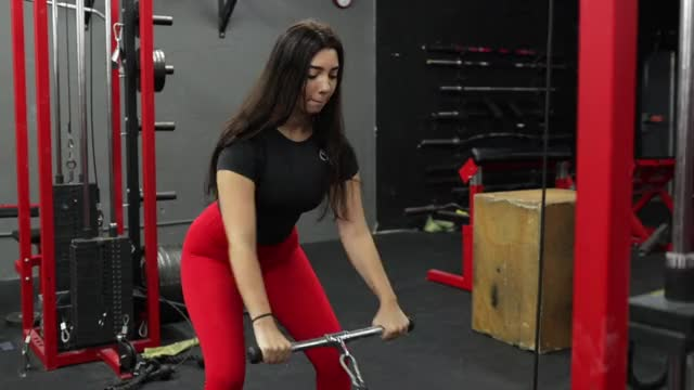 Female Cable Row Standing demonstration