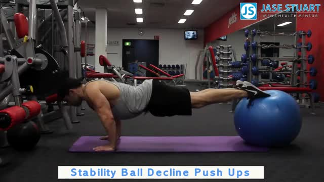 Male Decline Push-up (on stability ball) demonstration