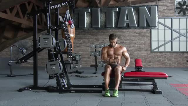 Male Cable Seated Shoulder Internal Rotation demonstration