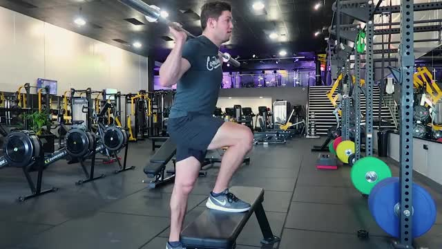 Barbell Step-Up demonstration
