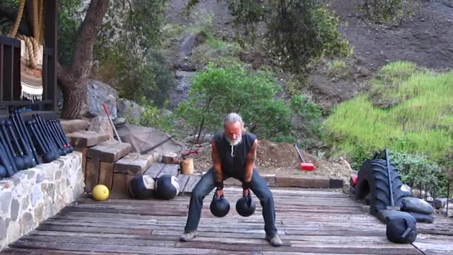Double Kettlebell Clean and Press demonstration