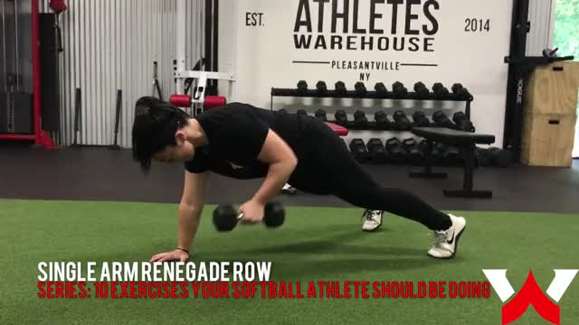 Female One-Arm Plank To Row demonstration