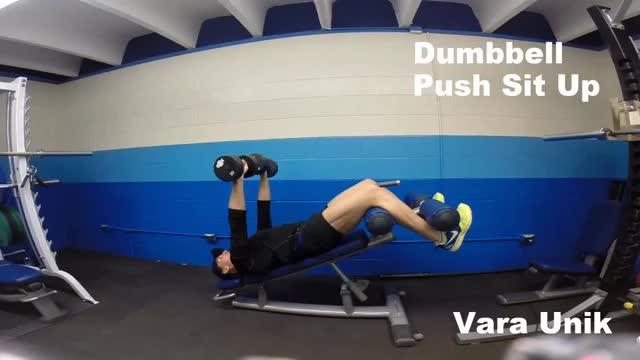 Male Dumbbell Push Sit-up demonstration