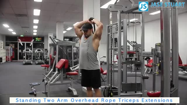 Male Standing Two Arm Tricep Cable Extension demonstration
