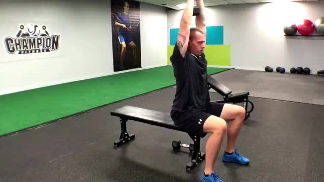 Seated Dumbbell Overhead Triceps Extension demonstration