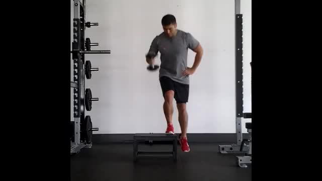 Single-Arm Step-Up and Press demonstration