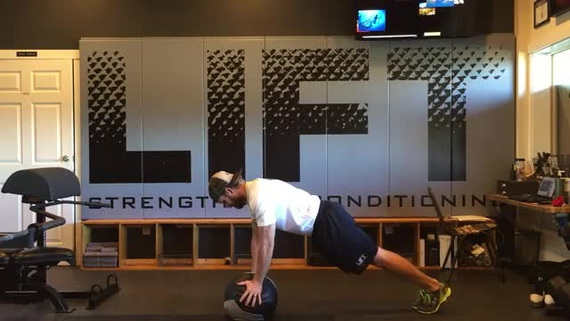 Close-Grip Medicine Ball Pushup demonstration