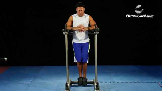 Knee/Hip Raise On Parallel Bars demonstration