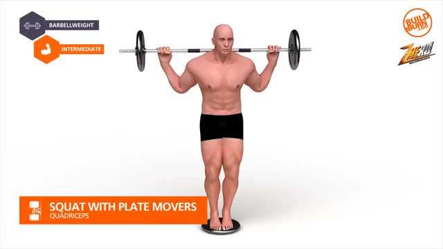 Male Squat with Plate Movers Demonstration