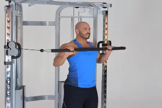 Male Cable Bar Standing Incline Chest Press demonstration