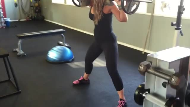 Female Wide Stance Barbell Squat demonstration
