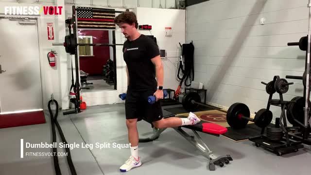 Male Dumbbell Single Leg Squat demonstration