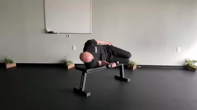 Male Dumbbell Shoulder Internal Rotation (on bench) demonstration